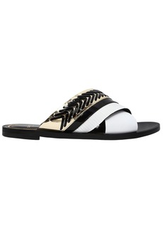Lanvin 10mm Crisscross Leather Slide Sandals