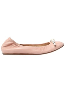 Lanvin 10mm Embellished Leather Ballerina Flats