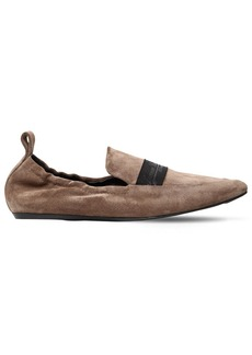 Lanvin 10mm Logo Band Suede Loafers