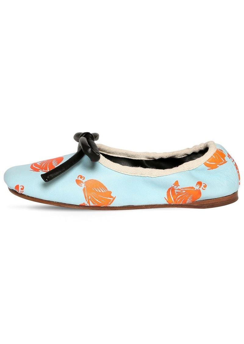 Lanvin 10mm Printed Leather Ballerina Flats