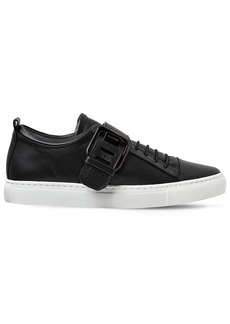 Lanvin 20mm Square Buckle Leather Sneakers