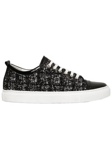 Lanvin 20mm Tweed & Patent Leather Sneakers