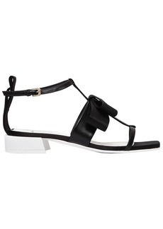 Lanvin 30mm Satin Bow & Leather Sandals