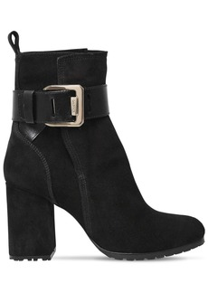 Lanvin 85mm Square Buckle Suede Ankle Boots