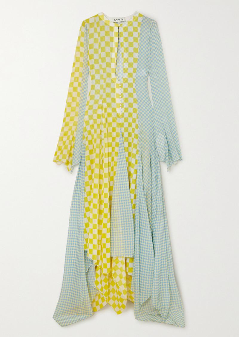 Lanvin Asymmetric Checked Silk-chiffon Gown