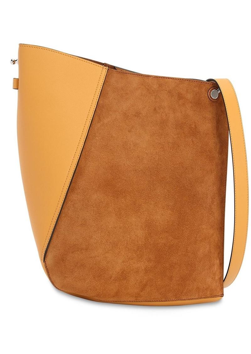 Lanvin Asymmetrical Suede & Leather Bucket Bag