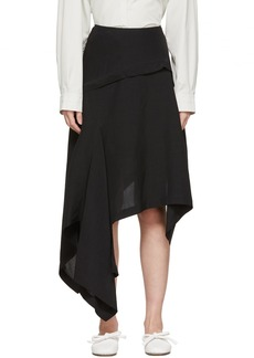 Lanvin Black Silk Asymmetric Skirt