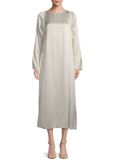 Lanvin Buttoned Long-Sleeve Shift Dress