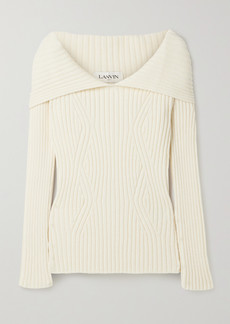Lanvin Cape-effect Ribbed Wool Sweater