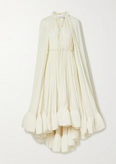 Lanvin Cape-effect Tie-detailed Ruffled Crepe Dress