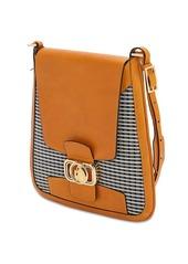 Lanvin Clasp Mini Cotton & Leather Hobo Bag