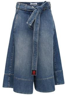 Lanvin Cotton Denim Wide Leg Shorts