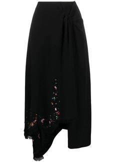 Lanvin crystal-embellished wrap skirt