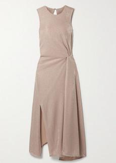 Lanvin Cutout Gathered Lurex Midi Dress