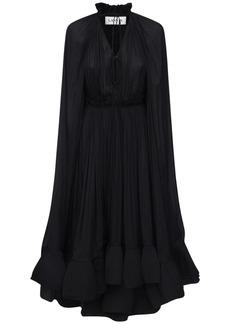 Lanvin Draped Georgette Midi Dress W/cape