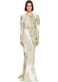 Lanvin Flower Print Crepe Dress