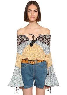 Lanvin Flower Print Patchwork Satin Shirt