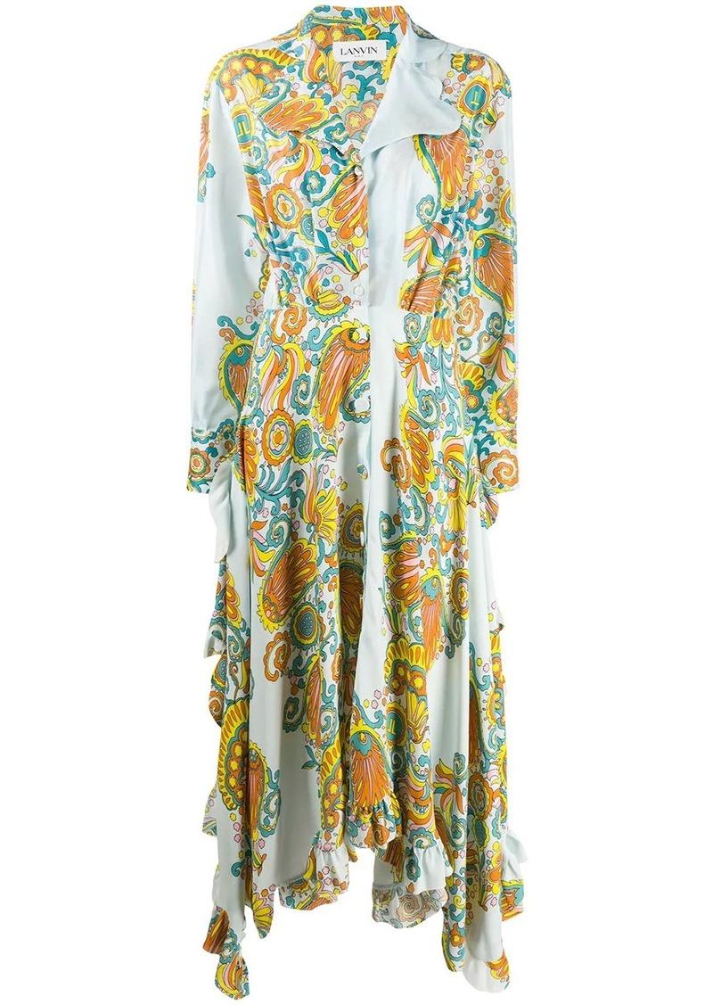 Lanvin Flower Swirl printed long dress