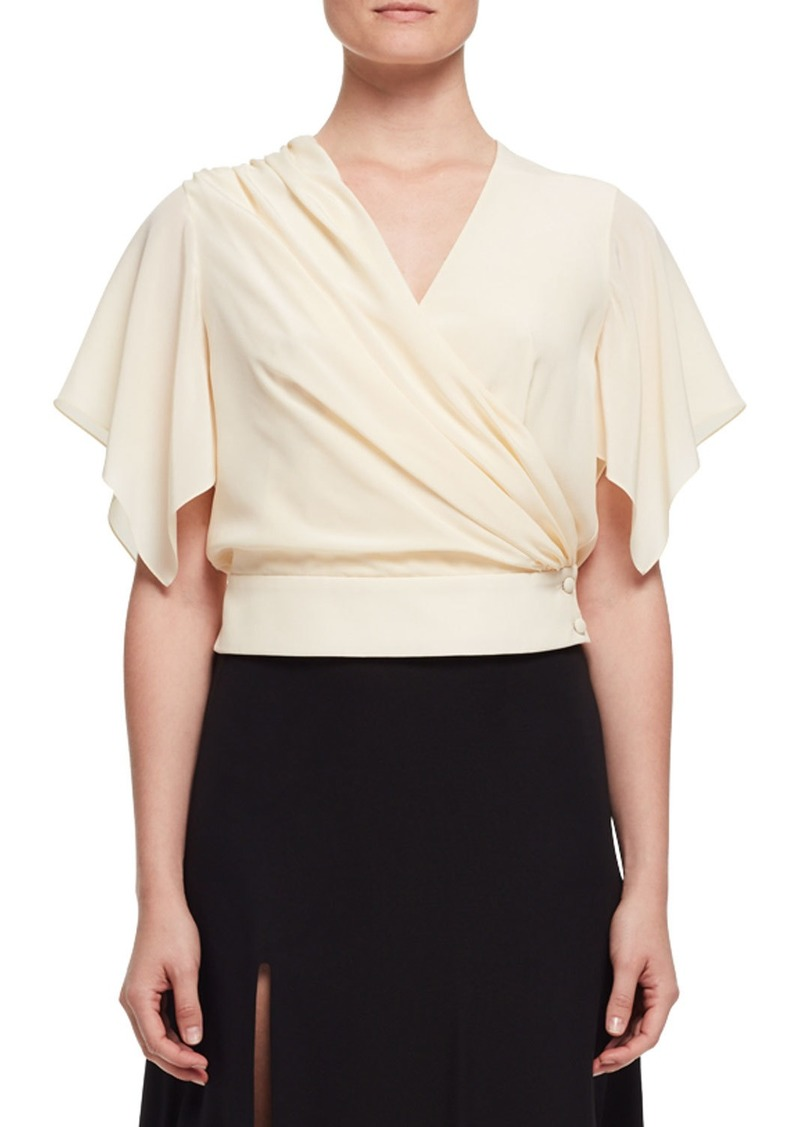 Lanvin Flutter-Sleeve Wrap Blouse  Ivory