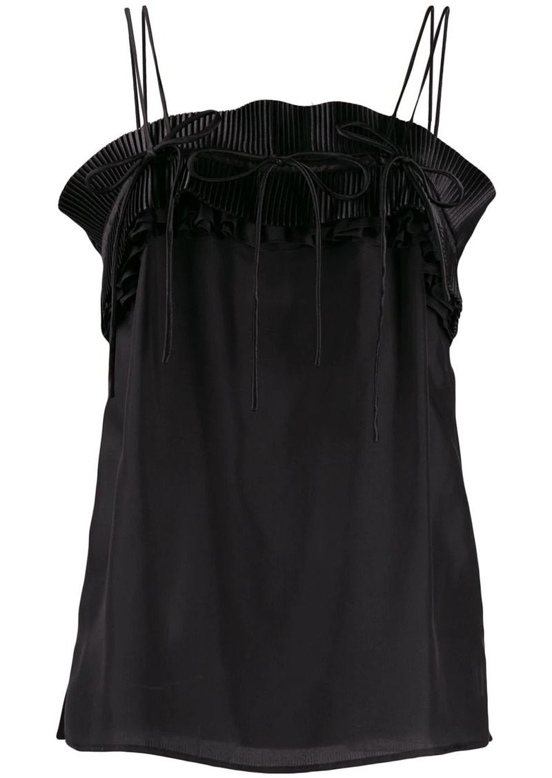 Lanvin frilled panel spaghetti strap top
