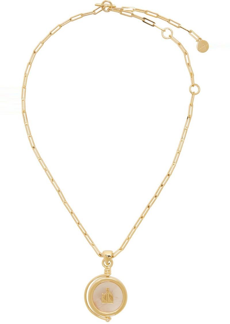 Lanvin Gold & Pink Agathe Stone Pendant Necklace