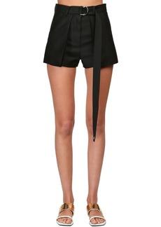 Lanvin High Waist Wool & Silk Shorts
