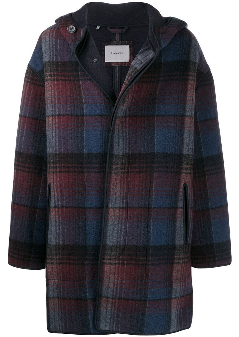 Lanvin hooded plaid coat