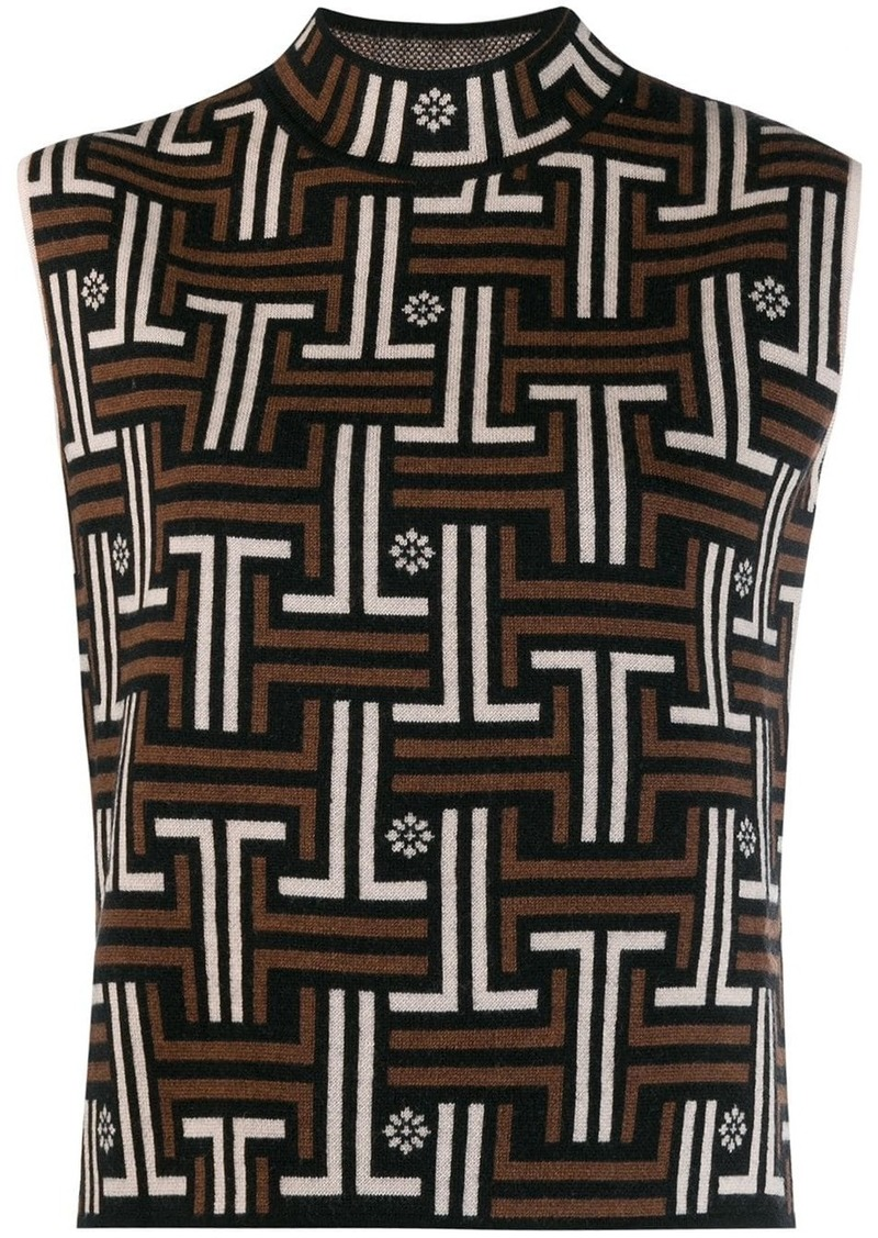 Lanvin jacquard sleeveless maze top