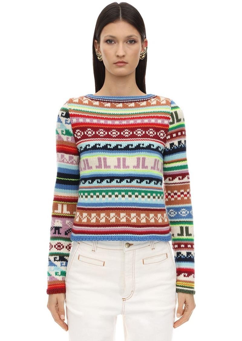 Lanvin Jacquard Virgin Wool Blend Knit Sweater