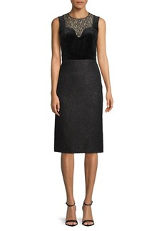 Lanvin Lace-Paneled Knee-Length Dress