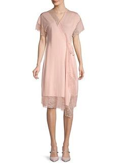 Lanvin Lace-Trim Wrap Dress