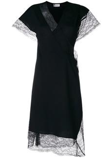 Lanvin lace trim wrap dress
