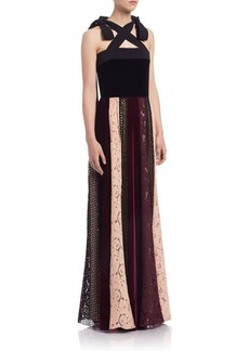 Lanvin A-Line Mixed Print Gown