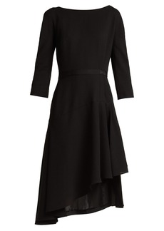 Lanvin Asymmetric pleated wool midi dress