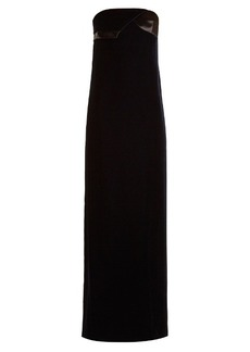 Lanvin Asymmetric strapless velvet gown