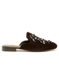 Lanvin Bead-embellished backless suede loafers