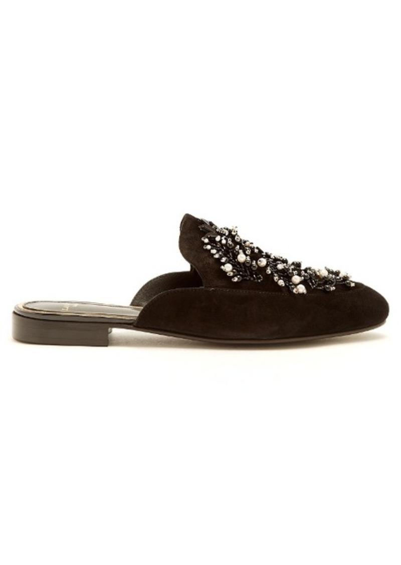 Lanvin Bead-embellished backless suede loafers