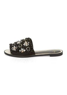 Lanvin Beaded Flat Slide Sandal