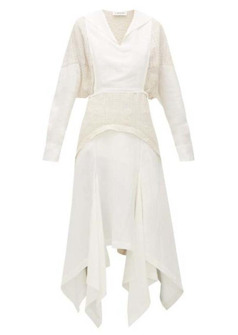 Lanvin Bib-front panelled midi dress