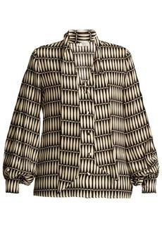 Lanvin Bois Joli-print tie-neck silk blouse