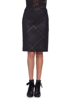 Lanvin Braided-Front Leather Pencil Skirt