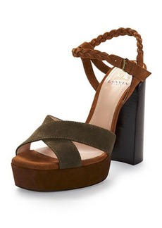 Lanvin Braided Suede Platform Sandal