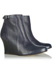 Lanvin Buckled leather wedge boots