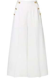 Lanvin button-embellished cropped trousers - White