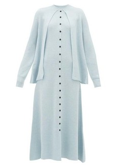 Lanvin Buttoned cardigan-cape wool dress