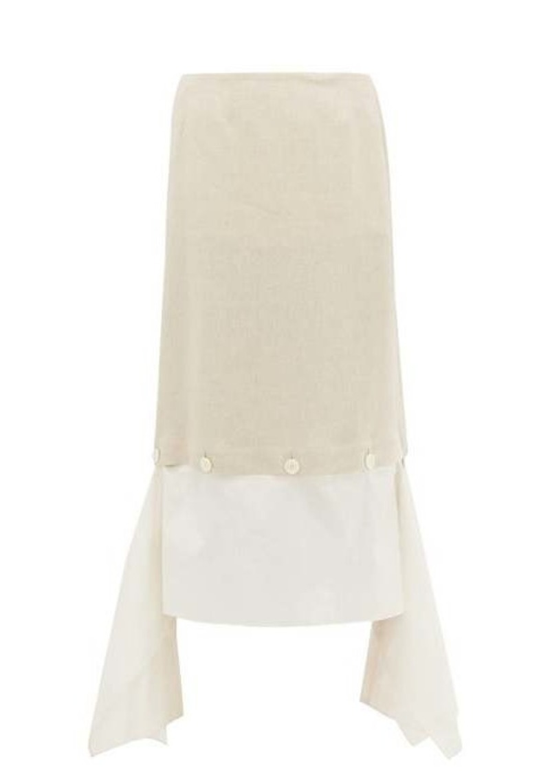 Lanvin Buttoned handkerchief-hem linen-twill skirt