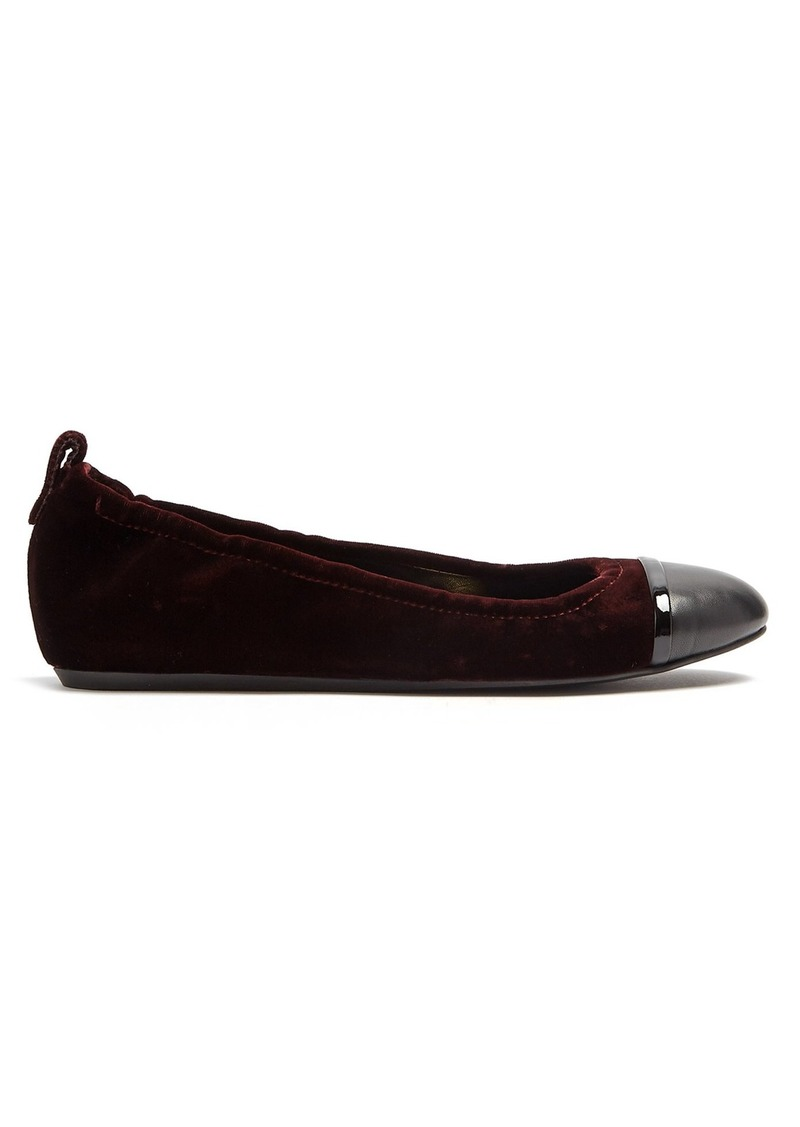 Lanvin Capped-toe leather-trimmed velvet ballet flats