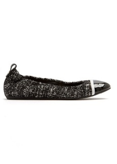 Lanvin Capped-toe tweed and leather flats