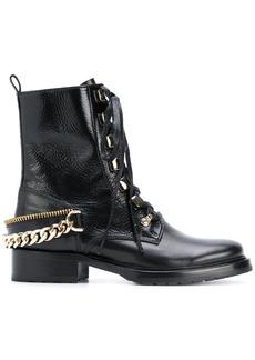 Lanvin chain-embellished combat boots - Black