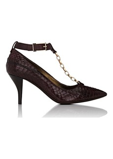 Lanvin Women's Chain-Link T-Strap Pumps-BURGUNDY Size 6